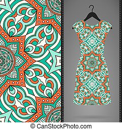 Dress with seamless pattern. Vintage decorative elements....