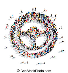 people in the shape of sign wheel. - A large group of people...