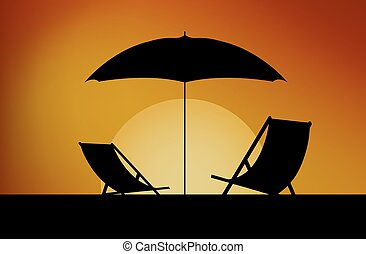 chairs and umbrella on a background - Sunbeds and umbrellas...