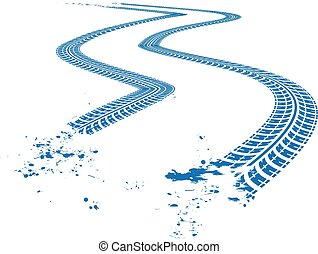 Tire tracks Vector illustration on blue background