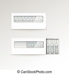 Vector Blank Packaging Box for Ampoules Isolated on White...