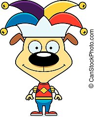 Cartoon Smiling Jester Puppy - A cartoon jester puppy...