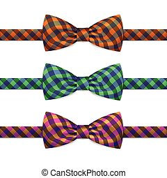 Vector Bow Tie Bowtie Set Isolated on White Background