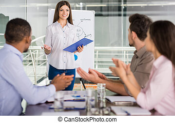 Business - Young business people sitting at meeting room and...
