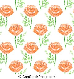 Seamless floral pattern. Hand painted rose flowers. Graphic...