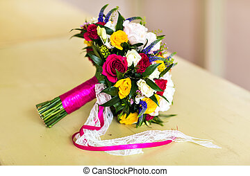 Bridal bouquet - beautiful bridal bouquet with colorful...