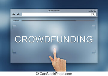 hand press on crowdfunding button on website - hand press on...