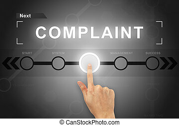 hand clicking complaint button on a screen interface - hand...