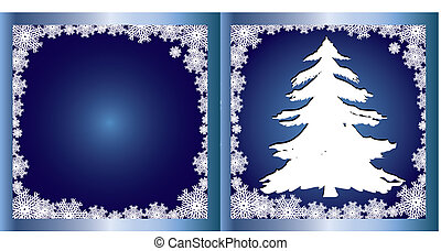 Blue Greetings card Firtree - Merry Christmas and Happy New...