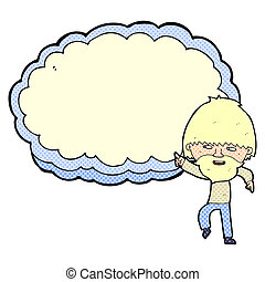 cartoon man pointing at text cloud space