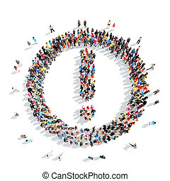people in the shape of an exclamation mark - A large group...