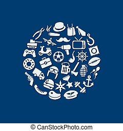 men icons in circle
