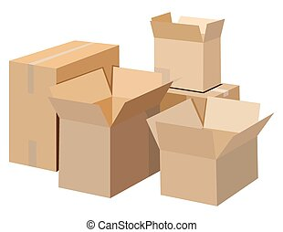 Cardboard boxes - Pile of cardboard boxes on a white...