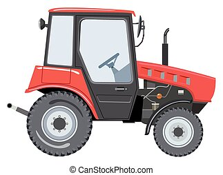Tractor - Red tractor a side view on white background