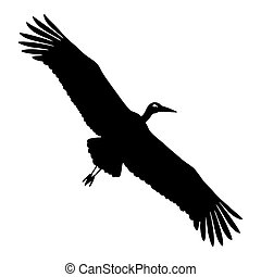 Stork silhouette - Silhouette of a stork in flight on a...