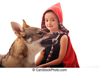 Little Red Riding Hood and angry wolf,focus on the animal