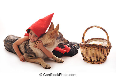 Little Red Riding Hood and her friend wolf