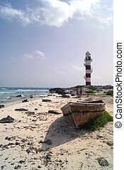 The beach of Cancun in Mexico - The beach of the tourist...