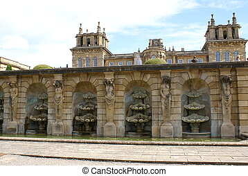 The fountain of Blenheim Palace, UK - Sculptured fountain at...
