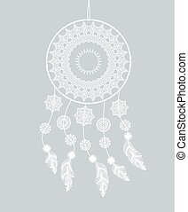 Dreamcatcher with feathers on a gray background