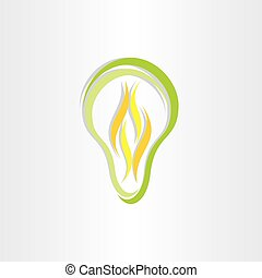green eco low energy bulb icon design