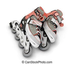 3d roller skates isolated on white background 3d render...