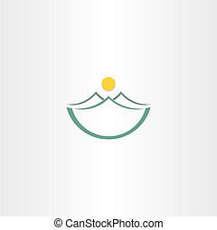 mountains and sun stilyzed landscape icon design