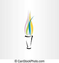 olympic fire torch colorful flame icon design