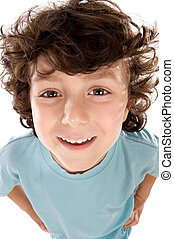 Caricature of a child a over white background