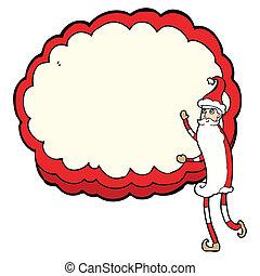 cartoon santa claus with text cloud