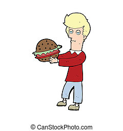 cartoon man eating burger