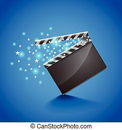 Movie clapper board on blue background vector - Movie...