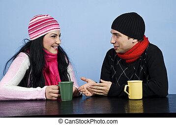 conversación, pareja, reír, juntos