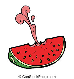 cartoon squirting watermelon - cartoon juicy squirting...