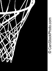 Basket - white basket with net on black background
