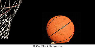 Basket with smiling basketball in hand - isolated basketball...