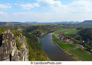 Saxon Switzerland from Bastei - Panoramic view to Saxon...