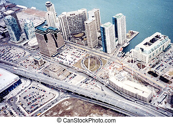 Toronto view from CN Tower 2002 - View from CN Tower in...