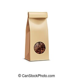Vector Coffee Packaging Package Bag Isolated on White...