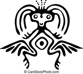 alien in native style, vector illustration - black alien in...