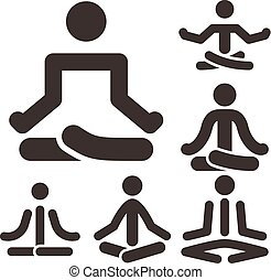 Yoga icons set - Health and Fitness icons set - yoga icons...