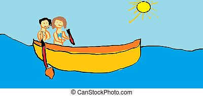 Childs drawing - boat - Man and a woman rowing a boat...