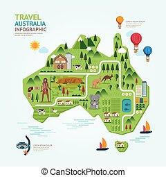 Infographic travel and landmark australia map shape template...