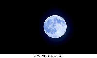 Bright Full Moon In The Clear Sky - Shot of a full bright...