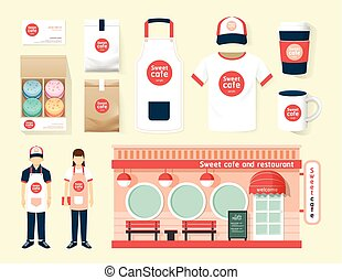 Vector restaurant cafe set shop front design, flyer, menu,...