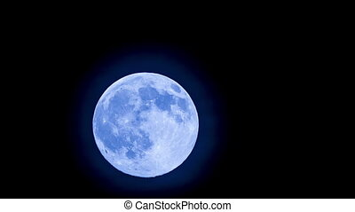 Big Blue Full Moon Rising In the Sky - Beautiful blue big...