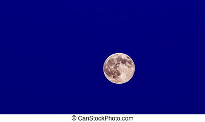 The Full Bright Moon Moves On Blue Background