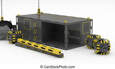 Module on Mars with RC controlled vehicle and boxes white...