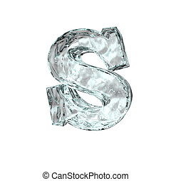 frozen letter S - frozen uppercase letter S on white...