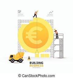 Infographic business euro coin shape template designbuilding...